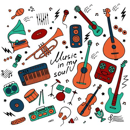 Music. Big set of icons for print and digital. Doodle elements of musical instruments. Hand written inscription Music in my soul. Vector graphics