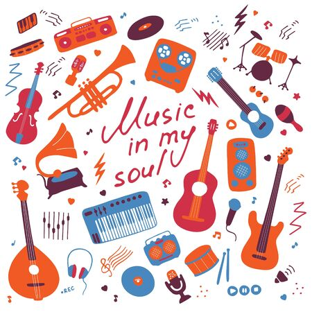 Music. Big set of icons for print and digital. Doodle elements of musical instruments. Hand written inscription Music in my soul. Vector graphics Vecteurs