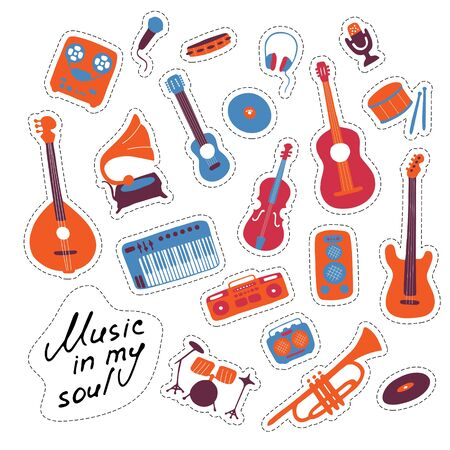 Music stickers. Hand drawn signs. Orchectra symbols. Vector illustration Vektoros illusztráció