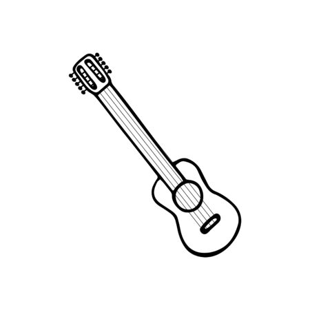 Single hand-drawn ukulele icon. Symbol of a musical instrument. Vector illustration