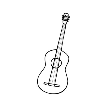 Single hand-drawn guitar icon. Symbol of a musical instrument. Vector illustration Vecteurs