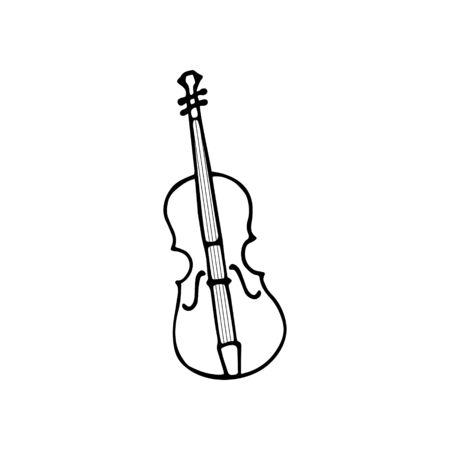 Single hand-drawn violin icon. Symbol of a musical instrument. Vector illustration Ilustrace