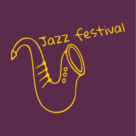 Hand drawn saxophone icon. Inscription Jazz festival. Vector illustration