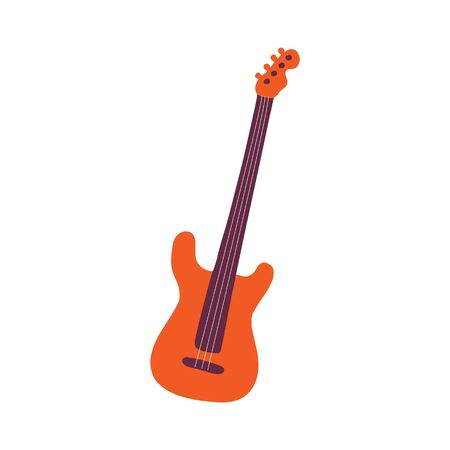 Single hand-drawn Electric guitar icon. Symbol of a musical instrument. Vector illustration