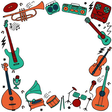 Musical frame. Hand drawn musical icon set. Vector graphic Vecteurs