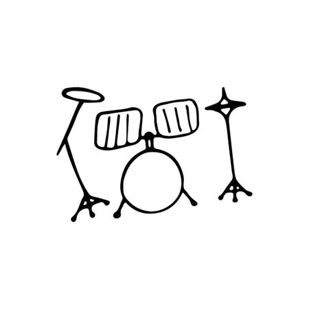 Single hand-drawn drum kit icon. Symbol of a musical instrument. Vector illustration