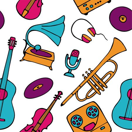 Musical pattern. Hand-drawn musical instruments icons. Bright seamless texture for wallpaper or fabric. Vector illustration