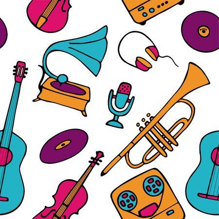 Musical pattern. Hand-drawn musical instruments icons. Bright seamless texture for wallpaper or fabric. Vector illustration Vektoros illusztráció