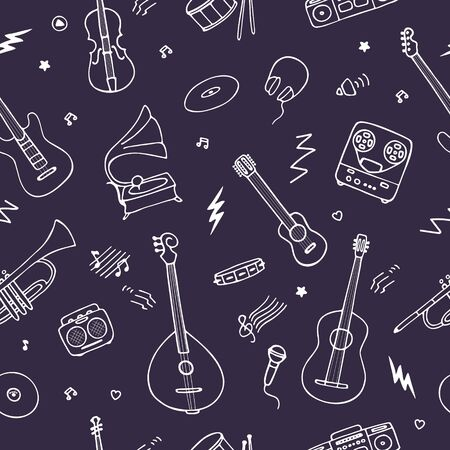 Seamless background for wallpaper and fabric. Music instruments icons. Hand drawn vector illustration