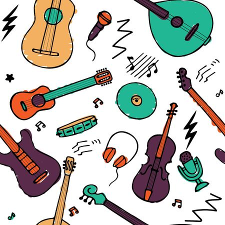 Hand drawn musical icon set. Seamless pattern for fabric and wallpaper. Vector graphic