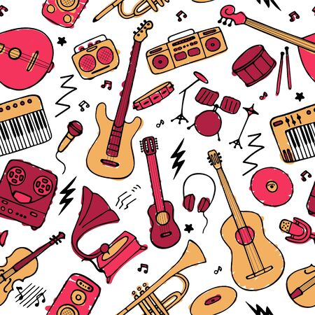 Hand drawn musical icon set. Seamless pattern for fabric and wallpaper. Vector graphic Vetores