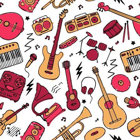 Handgezeichnete musikalische Icon-Set. Nahtloses Muster für Stoff und Tapete. Vektorgrafik Vektorgrafik