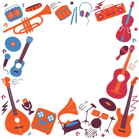 Musical frame. Hand drawn musical icon set. Vector graphic