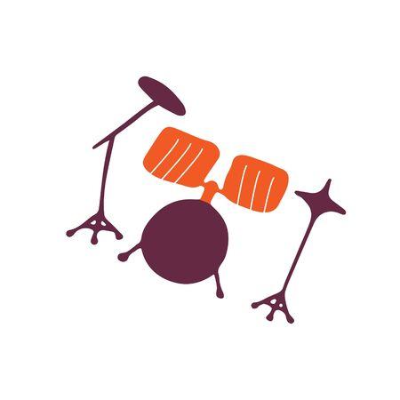 Single hand-drawn drum kit icon. Symbol of a musical instrument. Vector illustration Ilustração Vetorial