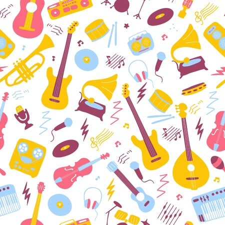 Bright seamless wallpaper. Musical texture for print and digital. Vector graphic