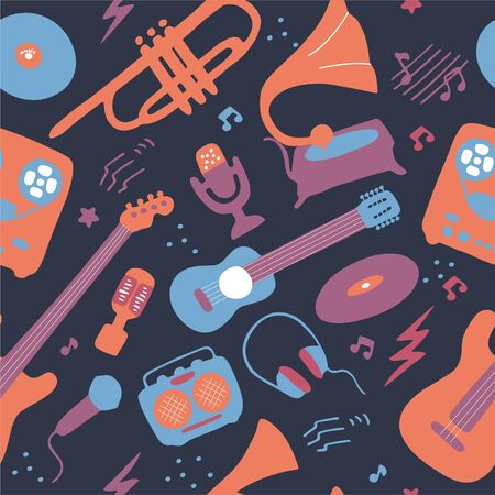 Bright seamless wallpaper. Musical texture for print and digital. Blue, pink, lilac colors. Vector graphic Illustration