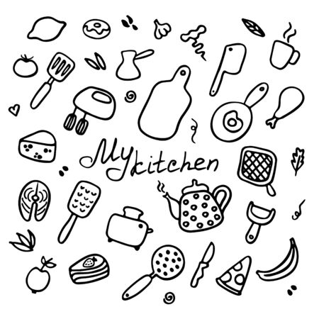 Hand-drawn set of kitchen items. Doodle icons of kitchen appliances, devices for cooking, products and dishes. Inscription My kitchen. Vector illustration
