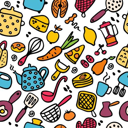 Big set of kitchen items. Doodle icons of kitchen appliances, devices for cooking, products and dishes. Hand drawn seamless pattern. Vector illustration