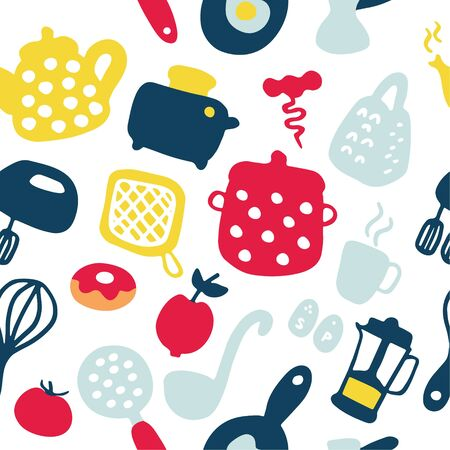 Doodle icons set of kitchen appliances and objects. Hand-drawn cooking items. Household appliances and housewares. Seamless pattern. Vector illustration Illustration