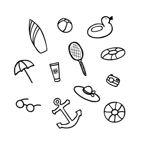 Summer collection. Hand drawn icon set. Sticker pack for print and digital. Vector illustration