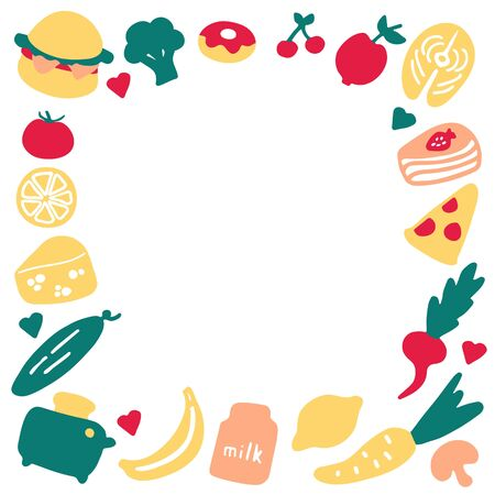 A hand-drawn set of food and dishes. Doodle frame of meal. Boarder for print and digital. Vector graphics Illustration