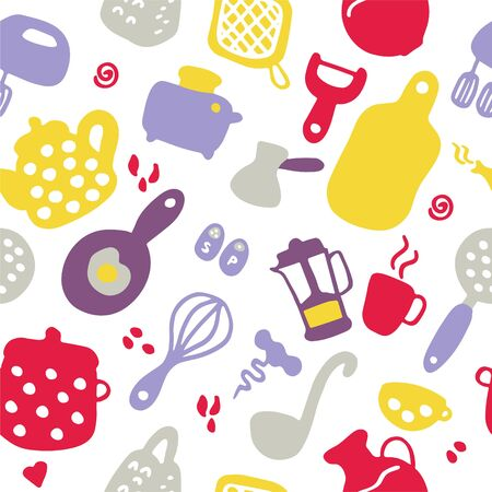 Big set of kitchen items. Doodle icons of kitchen appliances, devices for cooking, products and dishes. Hand drawn graphic. Seamless pattern. Vector illustration Illustration