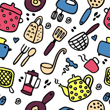 Doodle icons set of kitchen appliances and objects. Hand-drawn cooking items. Household appliances and housewares. Seamless pattern