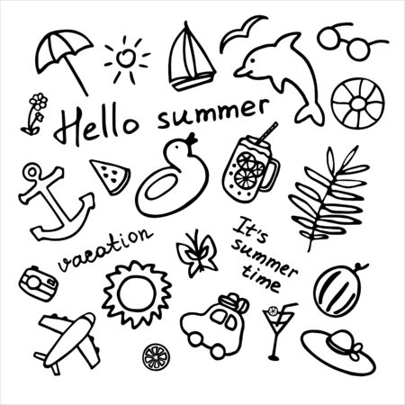 Summer icons set. Hand drawn collection. Summer elements and inscription It s summer time, hello summer, vacation. Vector