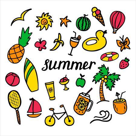 Summer set with hand drawn elements. Hand written inscription Summer. Vector illustration Vectores