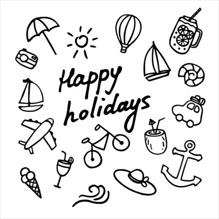 Vector summer set with baloon, shell, yacht, hat, car, bycicle, airplane, coctail, camera, umbrella, coconut. Bright stickers collection. Trendy patches pins badges Hand written inscription Happy holidays