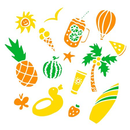 Summer set with hand drawn elements. Vector illustration