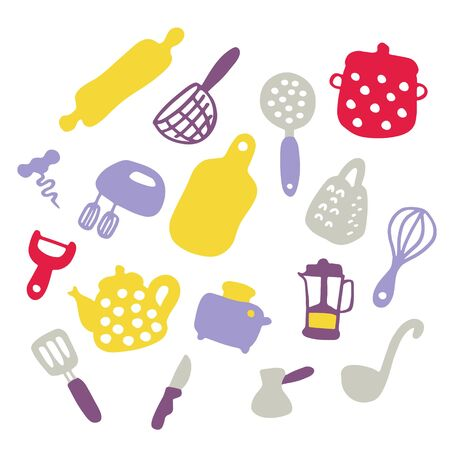 Doodle icons set of kitchen appliances and objects. Hand-drawn cooking items. Household appliances and housewares. Vector illustration