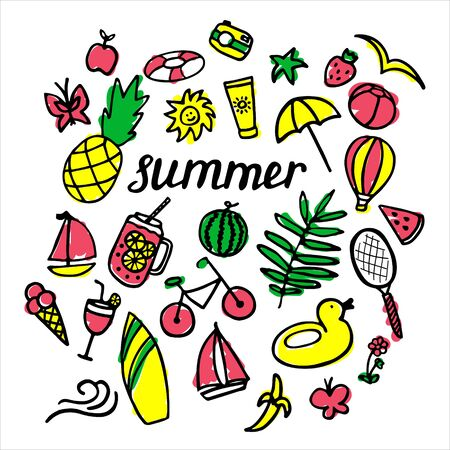 Summer set with hand drawn elements. Ice cream, watermelon, leaves, hat, pineapple, yacht, spf, lifebuoy, bicycle, racket, banana strawberry ball camera coctail butterfly. Hand written inscription Summer. Vector illustration Vectores