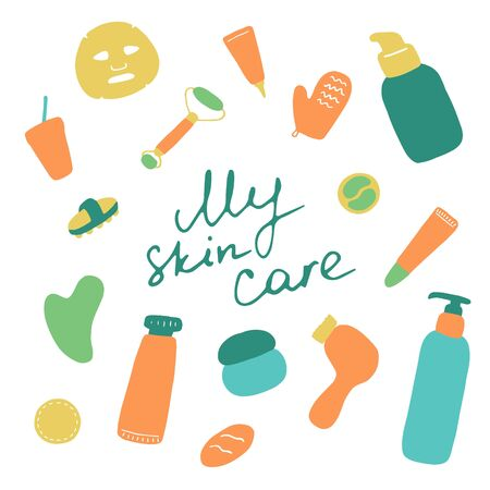 My skin care. Cosmetic products and accessories. Beauty icons for digital and print. Hand drawn flat vector graphic.