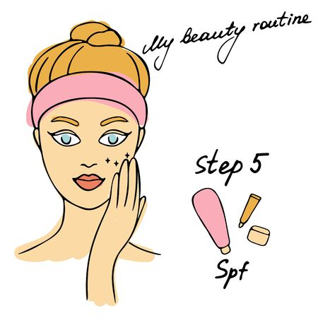 My daily routine. Skin care vector illustration. Correct order to apply skin care products. Step 5 SPF Illustration