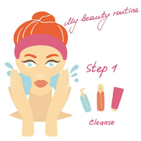 My daily routine. Skin care vector illustration. Correct order to apply skin care products. Step 1 Cleanse