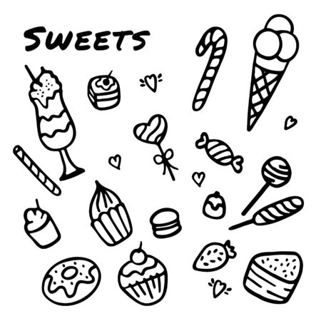 Hand drawn sweets. Doodle elements set with candies, cupcakes, cookies, chocolates, lollipops and macaroons
