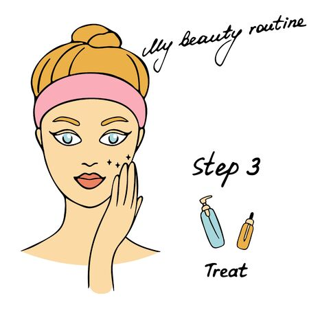 My daily routine. Skin care vector illustration. Correct order to apply skin care products. Step 3 Treat