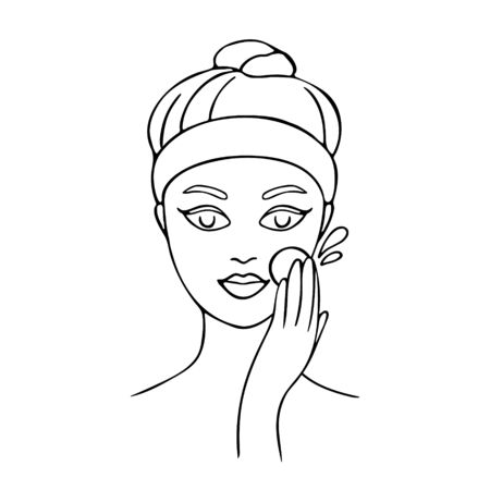 Girl cares about her face. Young woman cleans her skin. Hand drawn illustration. Vector illustration.