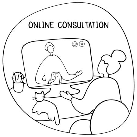 Patient talking to psychologist. Psychotherapy counseling. Online therapy session. Doodle vector graphic. Ilustração Vetorial