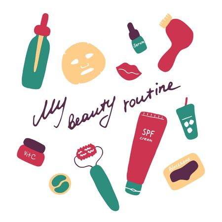 My beauty routine. Cosmetic products and accessories. Beauty icons for digital and print. Hand drawn flat vector graphic.