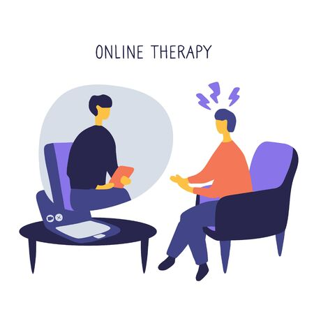 Man at the psychologist online session. Doctor consultation by phone. Video call to psychiatrist. Online psychological therapy. Flat vector graphic. Vektorgrafik