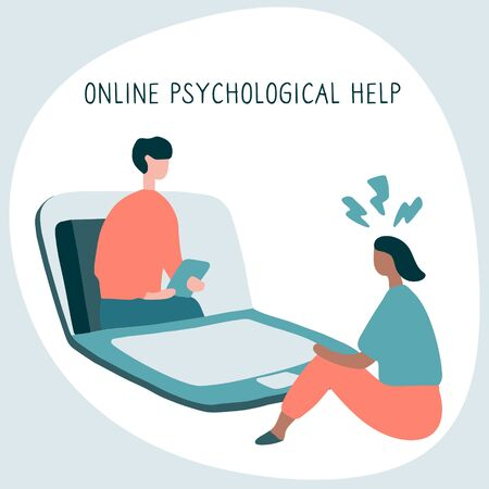Woman at the psychologist online session. Doctor consultation by phone. Video call to psychiatrist. Online psychological therapy. Flat graphic