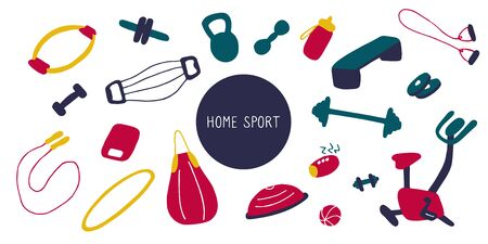 Simple icons of sports goods and accessories. Fitness at home, home workout. Flat vector illustration Stock Illustratie