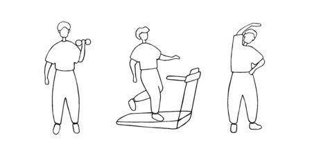 Male training, workout concept. Man doing different sport exercises. Doodle vector illustration. Stock Illustratie