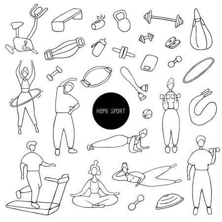 Big sport set. Icons of sports equipment and training people. Workout at home, sport exercises at home. Hand drawn vector graphic Stock Illustratie