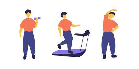 Man doing different sport exercises. Male training, workout concept. Flat vector illustration Stock Illustratie