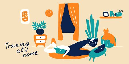Sport exercise and physical activity at home. Young woman training, getting fit at home. Stay physically active during self-quarantine. Hand drawn flat vector illustration