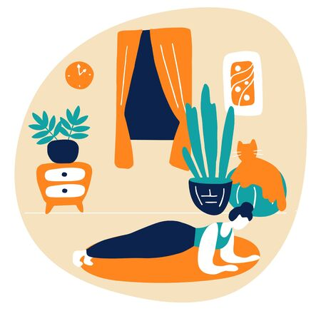 Young woman doing plank. Sports workout, gymnastic exercise at home. Flat vector illustration. Stock Illustratie