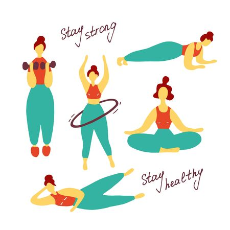 Different sport poses. Girl training. Workout concept. Flat vector graphic